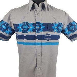 Roper Aztec Western Pearl Snap Blue Shirt Size M